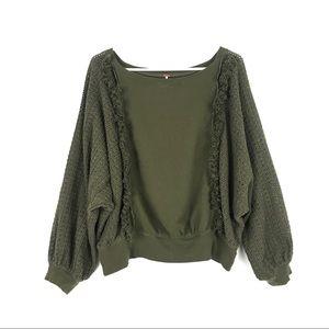 Free People Faff Fringe Sweater Crochet Army Green